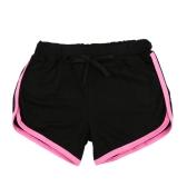 Mode Frauen Sport Shorts Kontrast binden Seite Split elastische Taille Yoga Shorts