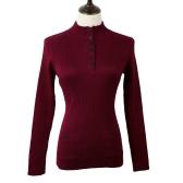 Neue Mode Frauen Pullover Stand Kragen Schaltflächen Langarm solide Bodycon Fit lässig Strickwaren