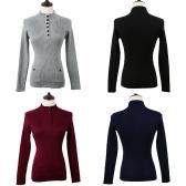 Nova moda mulheres camisola Stand colar botões manga longa sólido Bodycon Fit Casual malhas