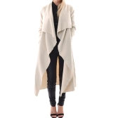 Fashion Women Outerwear Drape Waterfall Open Front Long Length Cardigan Coat