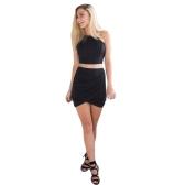 Nuova moda donne gonna piega stirata vita avvolgere anteriore asimmetrico elastico Clubwear Sexy Mini gonna