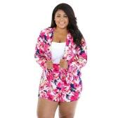 Novas mulheres terno de duas peças de estampa Floral entalhado gola mangas compridas Blazer Shorts calças casuais Twin conjunto rosa
