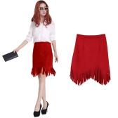Neue Frauen Rock Faux Wildleder Quaste unregelmäßige Saum Reißverschluss Midi Bleistift Röcke OL Jahrgang schlanke Clubwear rot