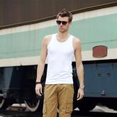Moda homens tanque Tops redonda pescoço sem mangas Sports coletes nexo branco