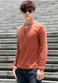 Homens moda Slim t-shirt botões gola v mangas compridas Tops Casual pulôver laranja-escuro
