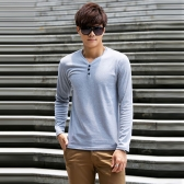 Homens moda Slim t-shirt botões gola v mangas compridas Tops Casual pulôver cinza