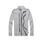 New Fashion Men Jacket Two Zippers Epaulettes Long Sleeves Slim Thin Coat Outerwear Light Grey