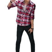 Moda coreana uomini camicia Verifica Plaid Pattern couverture collare maniche lunghe tasca Casual Top per coppia
