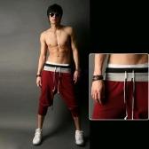 Europa moda hombres pantalones Sport Casual sueltos pantalones correa del lazo puños equipada Sweatpants de empalme