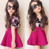 New Fashion Girls Dress Floral Printed Crew Neck Short Sleeves Frill Hem Back Zipper Dress Rose