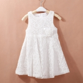 New Fashion Girls Dress Floarl Lace Flower Sleeveless Hollow Out Sweet Princess Dress White/Pink/Red