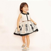 Sweet Girls Dress couverture collare senza maniche pulsante gatto Dot stampato maglia cintura bambini Piece Dress Beige