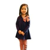 Nuova moda bambini ragazze abbigliamento Set Bowknot Pullover top a righe pantaloni rosa/blu scuro
