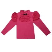 Kids menina algodão camiseta Bowknot gola alta pescoço plissado do Chiffon Manga longa botão Tee Casual Top Fashion