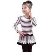Moda bambini ragazza vestito zebrato Balza Pizzo Bowknot maglia floreale collo rotondo lungo Sleeve principessa abiti Dark Blue/caffè