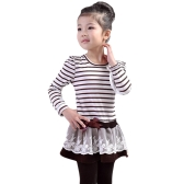 Moda Dziecięca Sukienka Sukienka Ruffle Koronka Bowknot Mesh Floral Sukienka Round Neck Long Sleeve Princess Dark Blue / Kawa