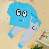 Новая мода мальчиков девочек одежда унисекс устанавливает футболку брюки большие глаза небольшие зуб улыбка печати милый костюм