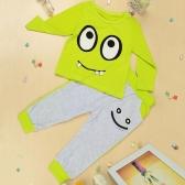 Nueva moda niños niñas ropa Unisex conjuntos camiseta pantalones ojos grandes sonrisa impresión lindo traje de diente pequeño