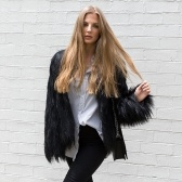 Second Hand Winter Women Faux Fur Coat Solid Color Long Sleeve Fluffy Outerwear Short Jacket Hairy Warm Overcoat