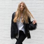 Second Hand Winter Frauen Faux Pelzmantel Einfarbig Langarm Flauschige Oberbekleidung Kurze Jacke Haariger Warmer Mantel