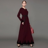 Second Hand Women Muslim Maxi Dress Contrast Lace Long Sleeve Abaya Kaftan Islamic Arab Robe Belted Long Dress Burgundy/Brown