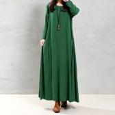 As mulheres do vintage da segunda mão vestem bolsos contínuos dos botões do algodão Irregular em volta do pescoço manga longa vestido maxi solto de uma peça
