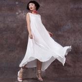 Segunda mano Vestido de verano para mujer Sin mangas O Cuello Largo Maxi Vestidos de lino Vestido suelto tallas grandes