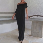 Second Hand Sexy Summer Women Boho Long Maxi Dress Slash Neck Off Shoulder Solid Casual Casual Loose Plus Size Dress White / Black