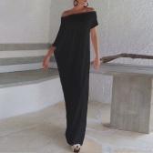 Segunda mano Sexy Summer Boho largo Maxi vestido Slash cuello fuera del hombro sólido Casual suelto más tamaño vestido blanco / negro