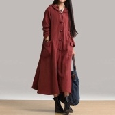 Second Hand Spring Autumn Women Vintage Dress Hooded Long Sleeve Casual Loose Solid Cotton Dress Burgundy / Dark Blue / Black