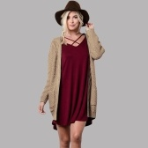 Second Hand Winter Autumn Women Knitted Cardigan Sweater Long Sleeves Pockets Elegant Outerwear Burgundy/Coffee/Khaki