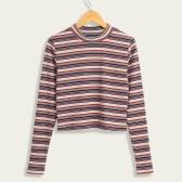Mujeres de segunda mano recortadas jerseys de rayas suéteres de punto acanalado mangas largas vaina elásticos Jumpers Crop tejer superior