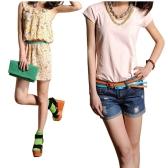 Moda mujeres chicas dulces colores correa ajustable de cintura baja estrecho cinturón delgado delgado PU cuero naranja