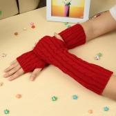 Fashion Winter Männer Frauen Handschuhe Handschuh warme gestrickte Fingerlose Arm lang Unisex weiß