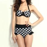 New Fashion Women Bikini Set Polka Dot Halter Push Up Underwire High Waisted Tankini Black