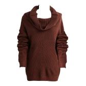 Las nuevas mujeres del suéter de la capucha sólido escote mangas raglan larga acanalada de gran tamaño ocasional Knittwear Pullover