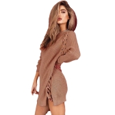 New Sexy Winter Women Lace Up Knit Sweater O Neck Long Sleeve Split Knitted Pullover Jumper Knitwear