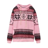 Mode Frauen Hoodie Schneeflocke Print Langarm Pullover Christmas Sweatshirt Sportwear weiß/Pink/Grün