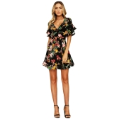 New Spring Women Floral Mini Dress V Neck Flare Sleeve Cintura Elástica Casual Vestido A-Lined Black