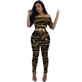 Sexy Women Off Shoulder Chain Print Jumpsuit Short Sleeve Slim Bodycon Rompers Long Pants Overalls Preto