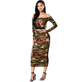 Women Camouflage Two Piece Set Tracksuit Sweat Suits Off the Shoulder T Shirt & Mesh Splice Skirt Dark Green