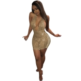 Sexy Women Sequin Backless Bodycon Vestido Glitter Bling Sofisticado Veja pelo Mini Club