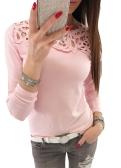 Nuevas mujeres delgadas delgadas del cordón del empalme del cuello O cuello mangas largas Ahueca hacia fuera Color sólido Top rosa / blanco