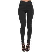 Mulheres De Cintura Alta Calças Skinny Elastic Stretchy Sólida Leggings Magros Plus Size Calças Lápis Casuais