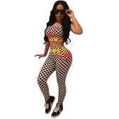New Sexy Women Plaid Print Dwuczęściowy zestaw Crop Top High Waist Skinny Pants Legginsy Suits Black