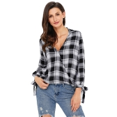 New Women Casual Plaid Shirt Checked Print V Neck Long Sleeve Bandage Loose Blouse Tops