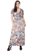 Nuove donne Plus Size Bohemian Long Dress V Neck Manica corta Butterfly Casual Beach Maxi Dress Blu / Grigio / Rosso