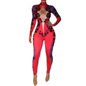 Sexy Frauen One Piece Outfit Ausschnitt Bodycon Jumpsuit High Neck Lange Hosen Strampler Playsuit Rot