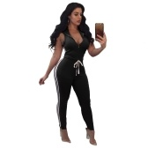 Women Sport Yoga Set Striped V Neck Sleeveless Fitness Jumpsuits Gym Running Bodysuits Workout Suit Pink/Black