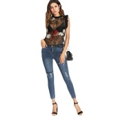 Blusa de malla pura de las mujeres bordado floral volantes sin mangas del o-cuello top sexy pullover negro